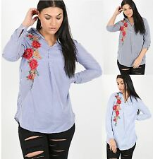 Ladies Womens Floral Embroidered Striped Collared Dress Shirt Oversized Top