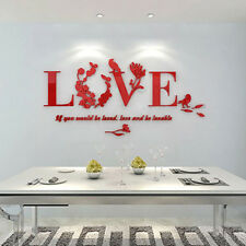 3D DIY Art Vinyl Removable Large Wall Sticker Mural Love Flower Words Home Decor