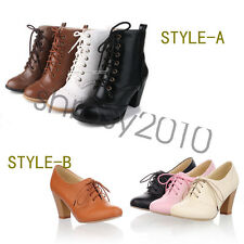 Vintage Womens Booties Thick High Heels  Shoes Lace Up Ankle Boots AU Size B1031