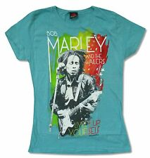 BOB MARLEY LIVELY UP YOURSELF GIRLS JUNIORS TEAL GREEN T SHIRT NEW OFFICIAL