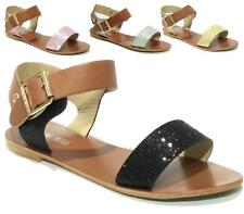 Ladies Gladiator Sandals Girls Diamante Flat Strappy Fancy Summer Beach Shoes Si