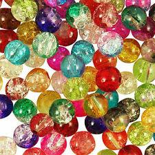 6mm Round Crackle Glass Beads 100 pcs Assorted Colours