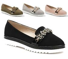 LADIES WOMENS FLAT DOLLY SHOES DIAMANTE WORK OFFICE SCHOOL PUMPS LOAFERS BALLET