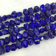 Natural Genuine Blue Lapis Lazuli Nugget Free Form Hand Cut Faceted Beads