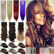 8 Piece Full Head Long Straight Wavy Long As Human Hair Clip In Hair Extensions