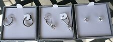 DIAMONIQUE STERLING SILVER SET OF THREE EARRINGS  LEVERBACKS, HOOPS, STUDS