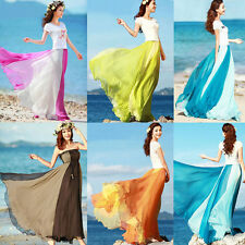 BOHO Ladies Womens Long Jersey Maxi Skirt Chiffon Gypsy Strapless Summer Dresses