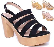 WOMENS HIGH BLOCK WOODEN HEEL PLATFORM SANDALS BUCKLE STRAP STRAPPY SUMMER SHOES