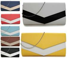 WOMENS LADIES TWO TONE FLAP FOLD OVER ENVELOPE WEDDING PARTY EVENING CLUTCH BAGS