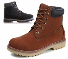 WOMENS LADIES FAUX LEATHER LACE UP GRIP SOLE WINTER SNOW ANKLE BOOTS SIZE 3-8 UK