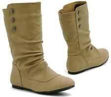 WOMENS KHAKI FLAT PULL UP SLOUCH MID CALF BUTTON RIDING CASUAL BOOTS SHOES SIZE
