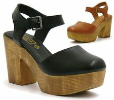 WOMENS STACKED PLATFORM SANDALS CHUNKY BLOCK HIGH HEELS BUCKLE STRAP CLOGS SHOES