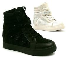 WOMENS LADIES HI TOP ANKLE WEDGE TRAINERS DIAMANTE BOOTS SHOES SIZE