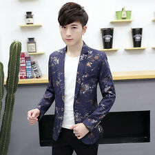 Mens One Button Blazer Jacket Casual Slim Flower Print Spring Party Coat Outdoor