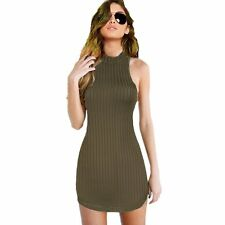 Army Green Backless Summer Women Bodycon Slim Dress Party Cocktail Mini Dress