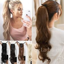 Lady Clip In Ponytail Pony Tail Hair Extension Tip Up Hair Piece Curly Wavy Lcc
