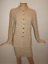 ST JOHN Collection 8 Luxury Cream Brown Knit Womens Designer Jacket Skirt Suit