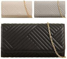 LADIES SMALL GOLD CHAIN ENVELOPE FAUX LEATHER CLUTCH BAG PARTY EVENING BAG