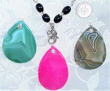 CHOOSE Necklace or Interchangeable Agate Pendants Green Pink Brown UPICK #222