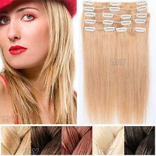 Dark Blonde Full Head Set Clip In Extensions Remy Real 100% Human Hair US II512