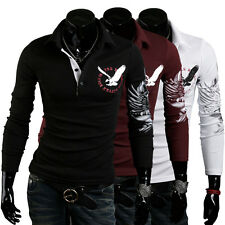 Newly Mens Cotton Tipped Collar Long Sleeved Polo t-shirt Eagle Printing
