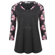 New Women Casual V-Neck Long Sleeve Prints Patchwork Pleated T-Shirt Tops LEBB