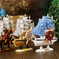 Decor Wooden Ship Music Boxes Wooden Sailing Boat Furnishing Art Decoration IB