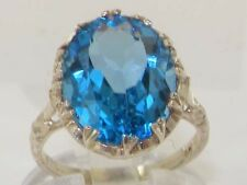 English Hallmarked Solid 925 Sterling Silver Natural Blue Topaz Solitaire Ring