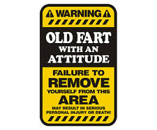 Old Fart Warning Yellow Decal Funny Gloss Vinyl Hard Hat Window Sticker HGV