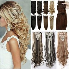 UK Natural Clip in Hair Extensions 8 Pieces Full Head Long Blonde As Human Hair