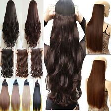 Long Ombre Clip in Hair Extensions Half Full Head One Piece Curly Straight Wavy