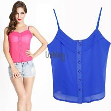 Women's Sexy Style Candy Color Blouse Chiffon Strap Vest Shirts Tops LEBB
