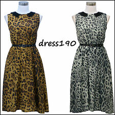 dress190 Sleeveless Leopard Chiffon 50s Rockabilly Swing Prom Ball Party Dress