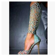 Womens Open Toe Knee High Hollow Leather Gladiator Stilettos Shoes Party HEELS @