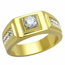 5x5mm Round Cut CZ Center Two Row Side Stones Gold IP Stainless Steel Mens Ring