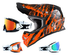 Oneal 3Series Helmet Mercury black orange with TWO-X Racing Goggles Crosshelm
