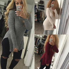 New Sexy Womens Knit Collar Slit Sweater Slim Pullover Jumper Outwear Coat Top