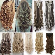 UK 100% Real Natural Full Head Clip in Hair Extensions 8 Pieces on Straight Wavy