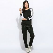 Woman Casual Pullover Sport Long Sleeve Sweatshirt and Pants Tracksuit LEBB01