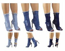 Womens Ripped Denim Boots Stiletto Ankle PeepToe Shoes Sexy Heel Kylie Inna Blog