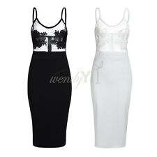 Women Ladies Mesh Embroidered Sleeveless Bodycon Dress Cocktail Party Dress
