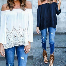 Boho Womens Sexy Off Shoulder Strapless Long Sleeve Tops Blouse Beach Shirts TO