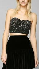 Urban Outfitters Pins and Needles Rhinestone Black Cascade Bra Top Sz S, L NWOT