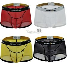 New Men's Sexy Mesh Boxer Briefs Shorts Thong Underwear Pouch Trunks Underpants