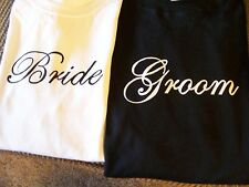 BRIDE & GROOM WEDDING SHIRTS! GREAT FOR HONEYMOON! FAST SHIPPING!! GREAT GIFT!
