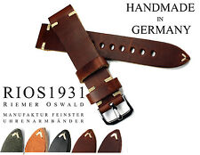 19mm /16 RIOS1931 Vintage Look genuine Leather BAND made Germany Strap Watch
