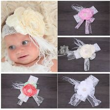 Cute Baby Girl Infant Toddler Feather Headband Accessoy Lace Flower Hair Band