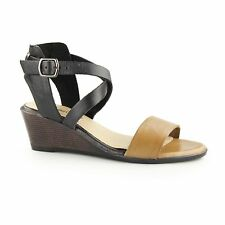 DRUCILLA Ladies Womens Leather Buckle Ankle Strap Wedge Summer Sandals Brown Tan