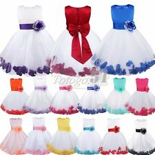 Recital Flower Girl Rose Petals Dress Wedding Bridesmaid Party Pageant Gown 2-14
