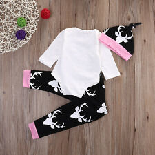 3PC Newborn Baby Girls Tops Romper +Long Pants Hat Outfits Clothes 0-18M 2017